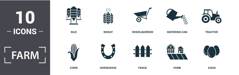 Farm icon set. Contain filled flat tractor, wheat, silo, wheelbarrow, corn, watering can, eggs, horseshoe icons. Editable format