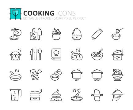 Outline icons about cooking
