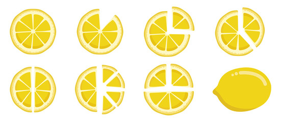 Vitamin C. Set of vector isolated elements. Bright fresh ripe juicy whole and cut lemon and slices isolated on white background. Clip art for your design