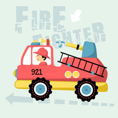vector cartoon illustration of firefighter