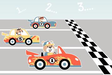 cars race with funny racer, vector cartoon illustration