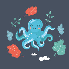 Cute cartoon image of octopus.