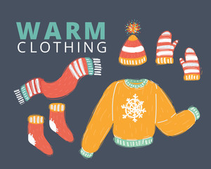 Knitted woolen, winter clothes and accessories