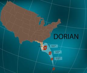 Hurricane Dorian. Florida's east coast. World map. Vector illustration