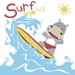 surfing time with cute hippo at summer, vector cartoon illustration