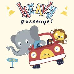 Cute elephant with little monkey on car, cartoon vector illustration