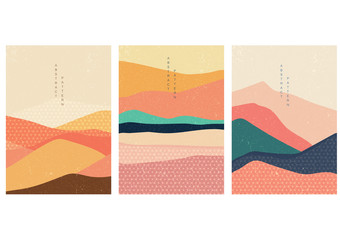 Landscape background with Japanese pattern vector. Mountain template with geometric elements.