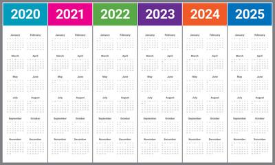 Year 2020 2021 2022 2023 2024 2025 calendar vector design template