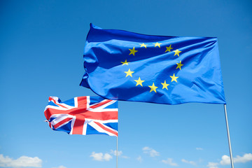 Flags of  European Union and Britain represent brexit