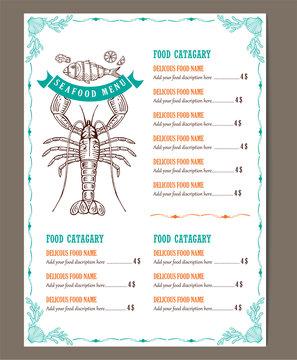 seafood restaurant menu template design