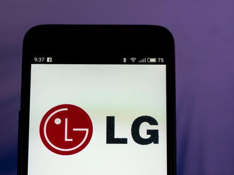 Kiev, Ukraine, September 27, 2018, illustrative editorial. The LG Corporation. logo seen displayed on smart phone