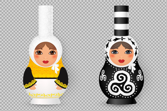 Set of Russian realistic dolls matryoshka stylized to traditional Breton costumes and decorated with triskels and hermines. Vector illustration on transparent background imitation.