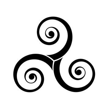Black vector triple spirals - traditional celtic symbol