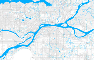 Rich detailed vector map of Surrey, British Columbia, Canada