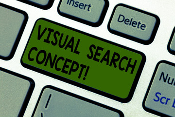 Writing note showing Visual Search Concept. Business photo showcasing perceptual task requiring attention for an object Keyboard key Intention to create computer message pressing keypad idea Wall mural