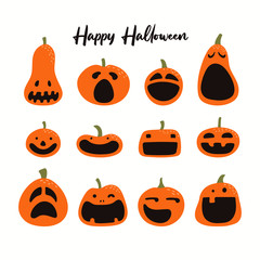 Poster Illustrations Set of different Halloween pumpkins, jack o lanterns. Isolated objects on white background. Hand drawn vector illustration. Flat style. Design element for party banner, poster, flyer, invitation.