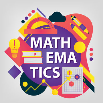 Mathematics. Back to school concept. Set of School supplies. Linear style web banner