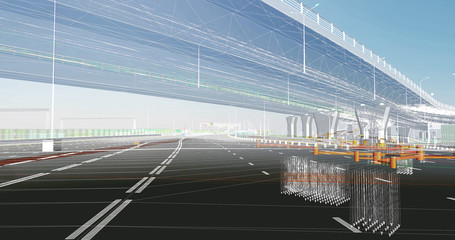 The BIM model of the object of road transport infrastructure of wireframe view