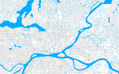 Rich detailed vector map of Port Coquitlam, British Columbia, Canada Fototapete