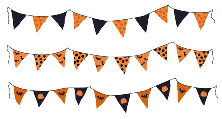 Cartoon halloween pennant banner and flags set. Different shapes orange pennant banner string isolated on white background. Colourful garland for the Halloween. Vector illustration.
