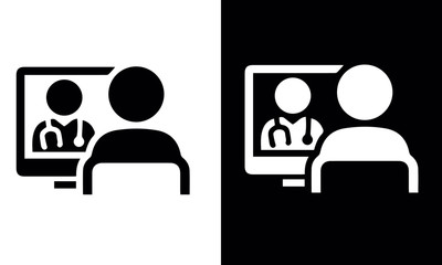 Telemedicine Icons vector design black and white icons