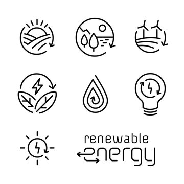 Renewable energy line icon logo set.