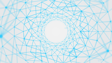 Abstract vector polygons plexus background with connected lines and dots forming a circle, digital data visualization