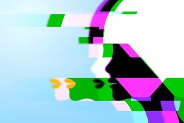 抽象的な女性の横顔のシルエット