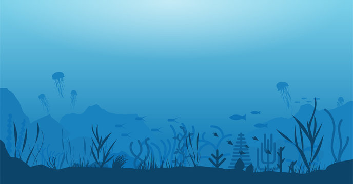 Underwater ocean scene. Deep blue water, coral reef and underwater plants with fish, jellyfish. Marine water life and ground with rocks. Modern flat wide illustration.