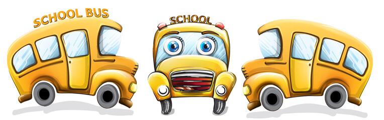 School bus funny cartoon Vector. Happy smilling back to school concepts set