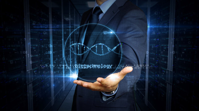 Businessman touch screen with biotechnology and DNA helix hologram