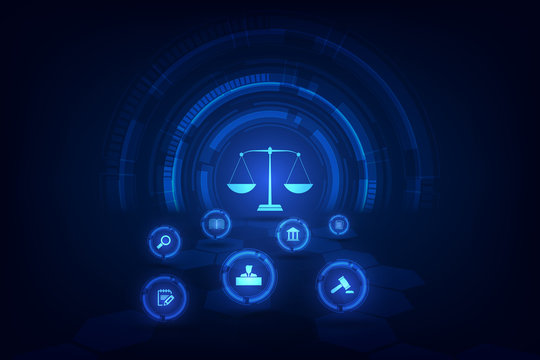 information technology internet digital justice law Labor Law Lawyer Legal Business  Concept. vector illustration