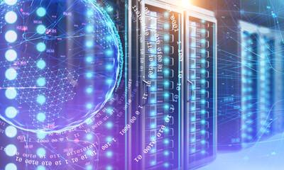 Fotobehang - Server room, planet and binary numbers