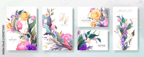 Wall mural Wedding invitation frame set; flowers, leaves, watercolor, isolated on white. Sketched wreath, floral and herbs garland with green, greenery color. Handdrawn Vector Watercolour style, nature art.