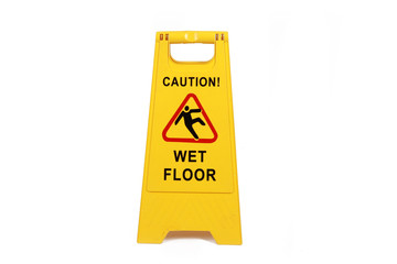 Fototapeta Yellow wet floor sign isolated  on white  - cleaning service  safety sign  obraz