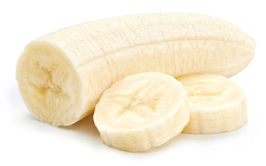 Banana Isolated with clipping path on a white background. Banana slices fruit. Quality photo for your project.