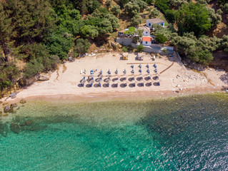 Wall Mural - Aerial view of Arsanas beach, wild and small beach in the northeastern island of Thassos, Greece