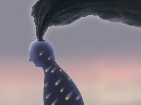 Depressed human head with black smoke