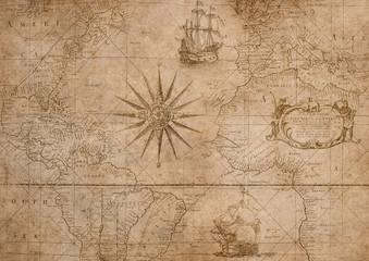 Vintage Schifffahrt alte  Karte mit Kompass und Segelschiffen Hintergrundbild