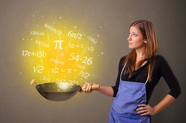 Person cooking numbers and mathematical staffs