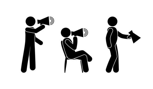 man with megaphone icon, loudspeaker illustration, stick figure people pictograms