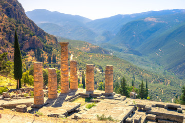 Wall Mural - The temple of Apollo in Delphi, Greece