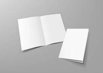 Realistic Blank A4 Half-fold Brochure Mock Up Template