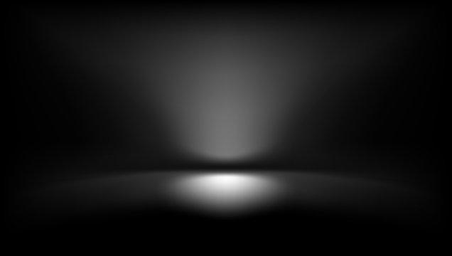Perspective Black Studio Room Floor Backdrop With Spotlight