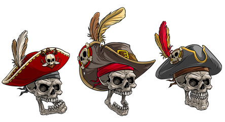 Cartoon detailed realistic colorful scary human skulls in pirate hat with badge, feathers and mustache. Isolated on white background. Vector icon set. Vol. 2