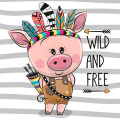 Cartoon Pig with feathers on a stripes background