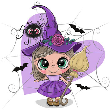 Cartoon witch in purple dress and hat