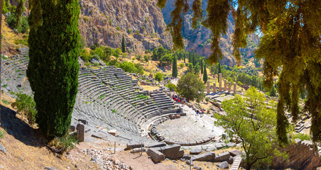 Fotomurales - The amphitheater and the temple of Apollo in Delphi, Greece