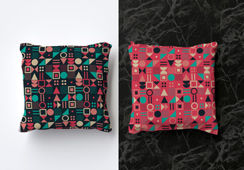 Mockup of 2 Square Pillows