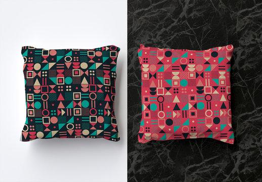 Mockup of 2 Square Pillows